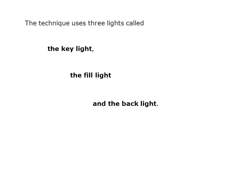 The technique uses three lights called the key light, the fill light and the back light.