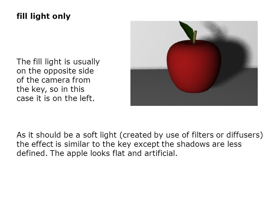 The fill light is usually on the opposite side of the camera from the key, so in this case it is on the left. As it should be a soft light (created by
