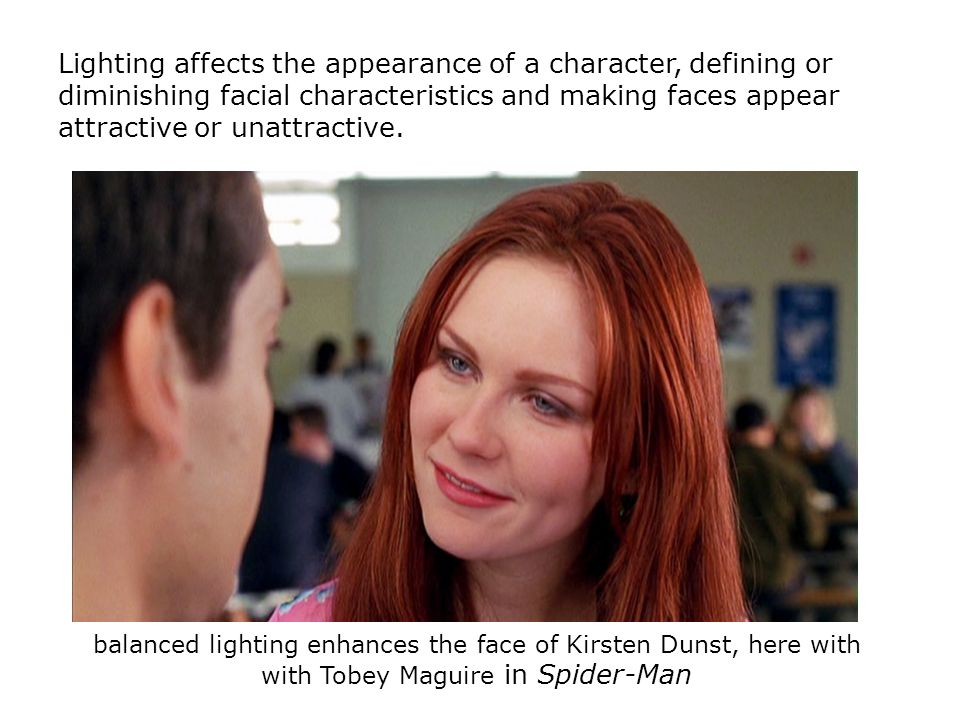 Lighting affects the appearance of a character, defining or diminishing facial characteristics and making faces appear attractive or unattractive. bal