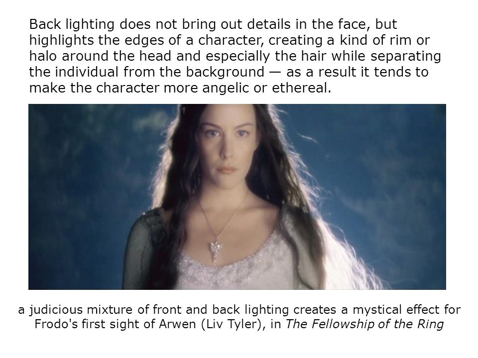 Back lighting does not bring out details in the face, but highlights the edges of a character, creating a kind of rim or halo around the head and espe