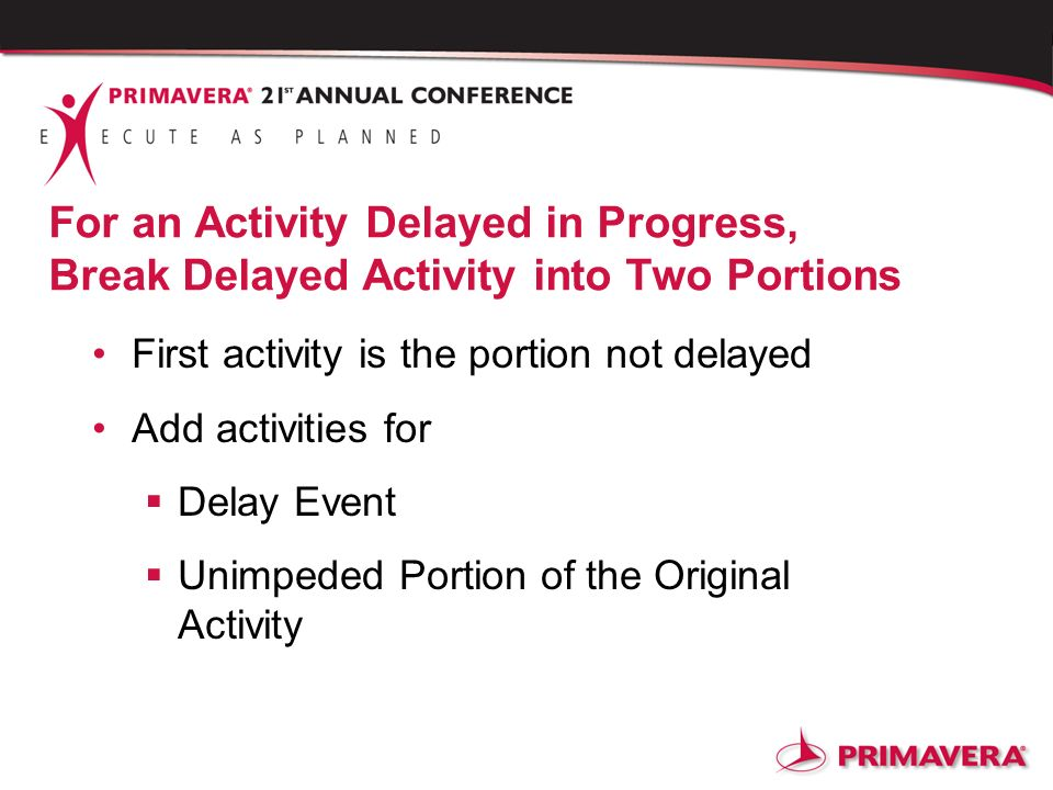 For an Activity Delayed in Progress, Break Delayed Activity into Two Portions First activity is the portion not delayed Add activities for Delay Event