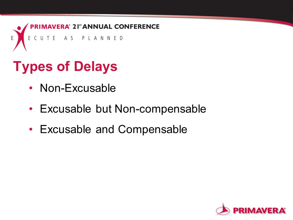 Types of Delays Non-Excusable Excusable but Non-compensable Excusable and Compensable
