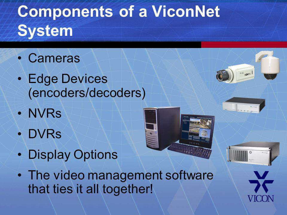 Cameras Edge Devices (encoders/decoders) NVRs DVRs Display Options The video management software that ties it all together! Components of a ViconNet S