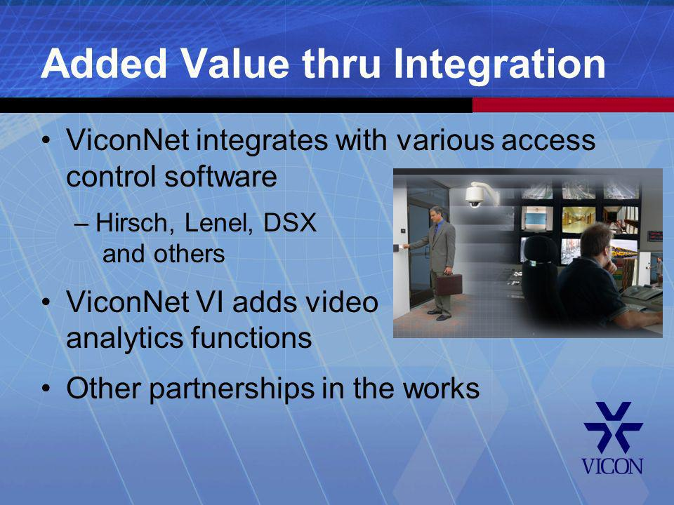 Added Value thru Integration ViconNet integrates with various access control software –Hirsch, Lenel, DSX and others ViconNet VI adds video analytics
