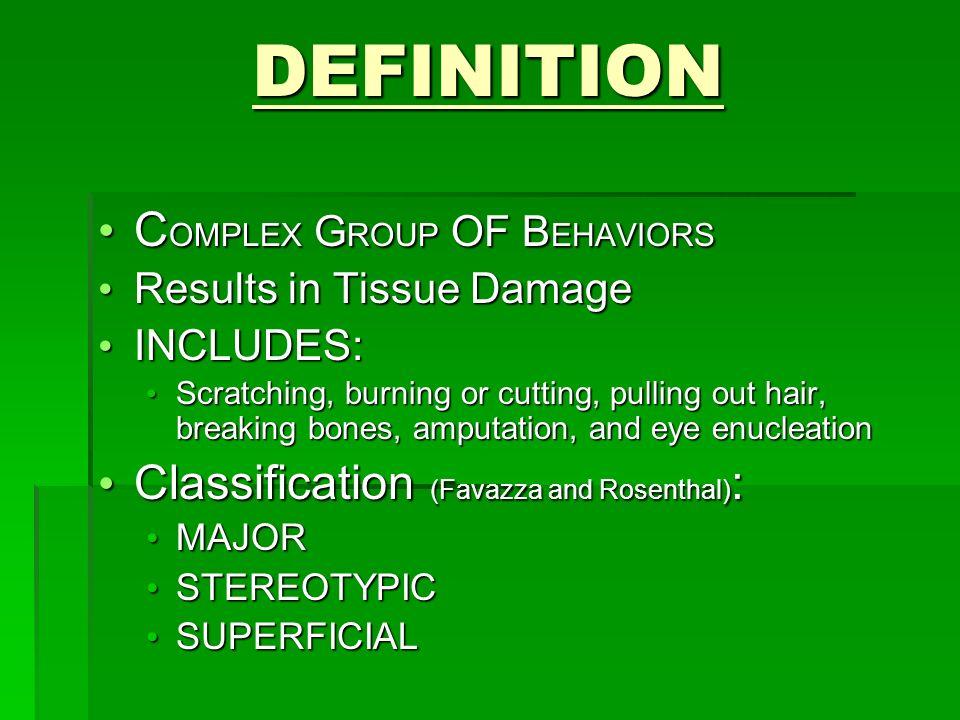 Co-Morbid Diagnoses Borderline Personality Disorder Borderline Personality Disorder Mood Disorders Mood Disorders OCD OCD PTSD PTSD Dissociative Disorders Dissociative Disorders Anxiety or Panic Disorder Anxiety or Panic Disorder