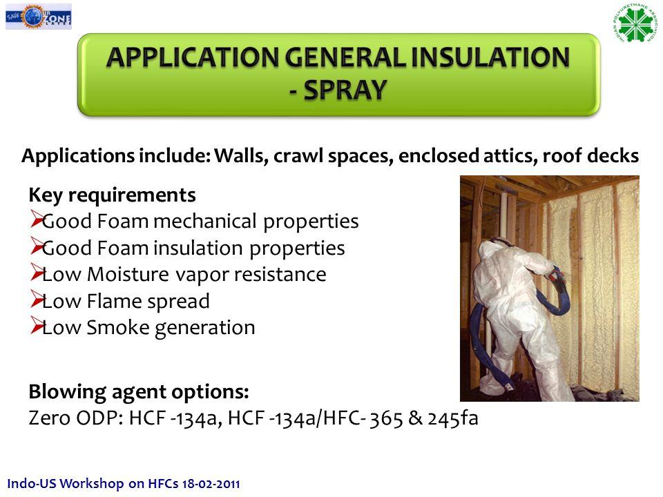 Applications include: Walls, crawl spaces, enclosed attics, roof decks Key requirements Good Foam mechanical properties Good Foam insulation properties Low Moisture vapor resistance Low Flame spread Low Smoke generation Blowing agent options: Zero ODP: HCF -134a, HCF -134a/HFC- 365 & 245fa Indo-US Workshop on HFCs 18-02-2011