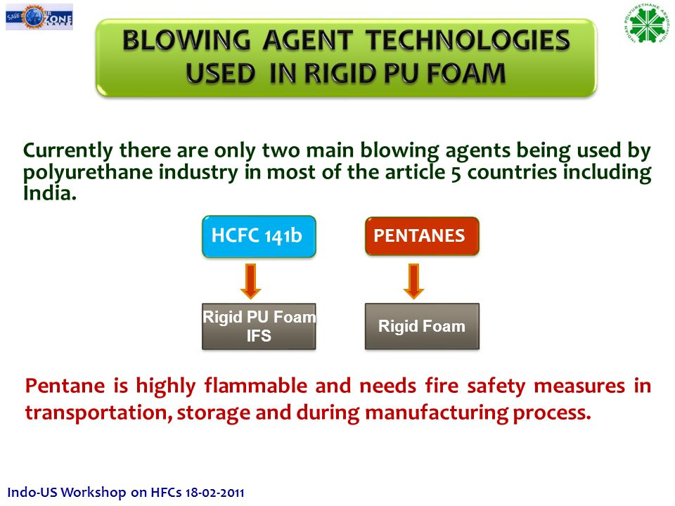 HCFC 141b Rigid PU Foam IFS Rigid PU Foam IFS PENTANES Rigid Foam Currently there are only two main blowing agents being used by polyurethane industry in most of the article 5 countries including India.