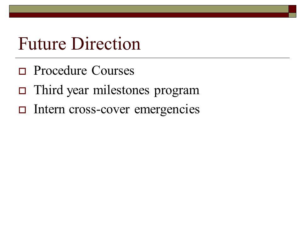Future Direction Procedure Courses Third year milestones program Intern cross-cover emergencies