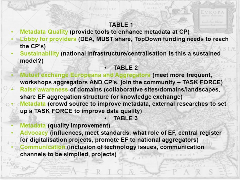 TABLE 1 Metadata Quality (provide tools to enhance metadata at CP) Lobby for providers (DEA, MUST share, TopDown funding needs to reach the CPs) Sustainability (national infrastructure/centralisation is this a sustained model ) TABLE 2 Mutual exchange Europeana and Aggregators (meet more frequent, workshops aggregators AND CPs, join the community – TASK FORCE) Raise awareness of domains (collaborative sites/domains/landscapes, share EF aggregation structure for knowledge exchange) Metadata (crowd source to improve metadata, external researches to set up a TASK FORCE to improve data quality) TABLE 3 Metadata (quality improvement) Advocacy (influences, meet standards, what role of EF, central register for digitalisation projects, promote EF to national aggregators) Communication (inclusion of technology issues, communication channels to be simplied, projects)