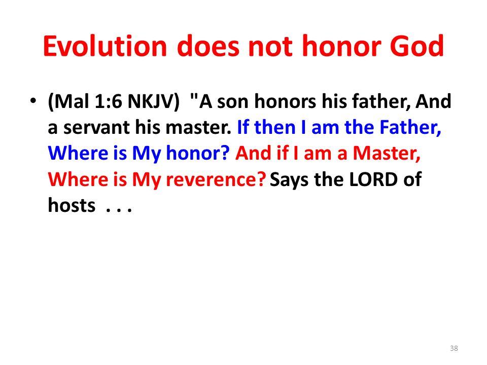 Evolution does not honor God (Mal 1:6 NKJV)