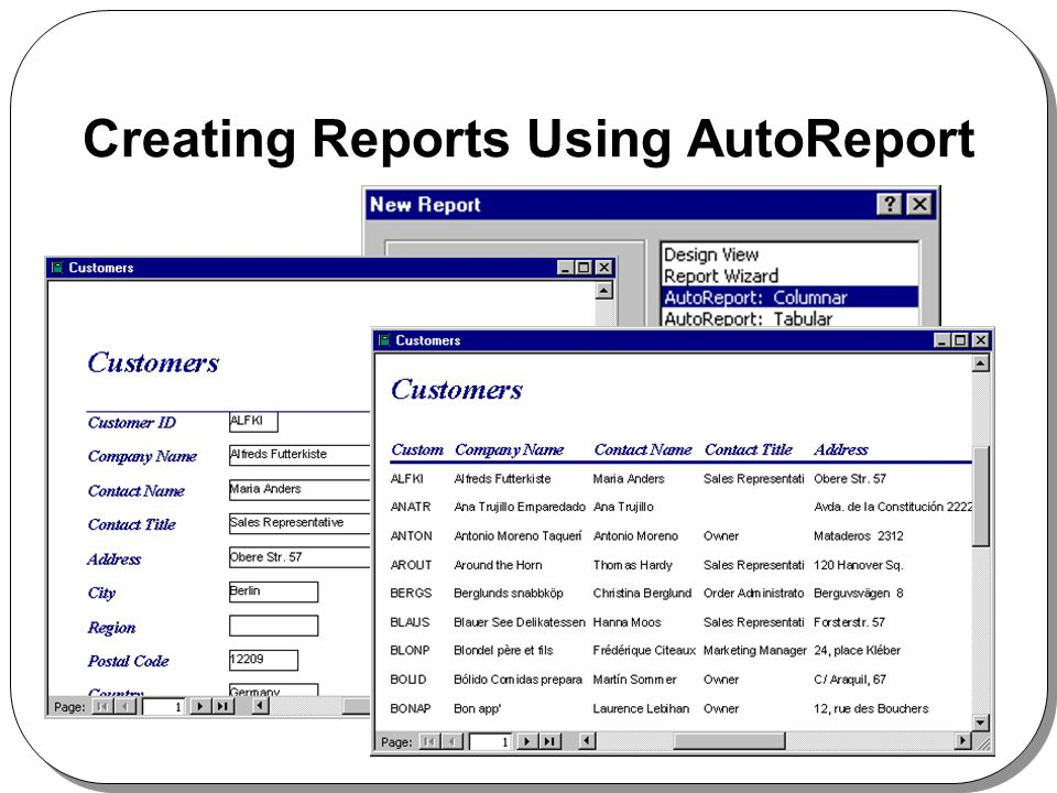 Creating Reports Using AutoReport