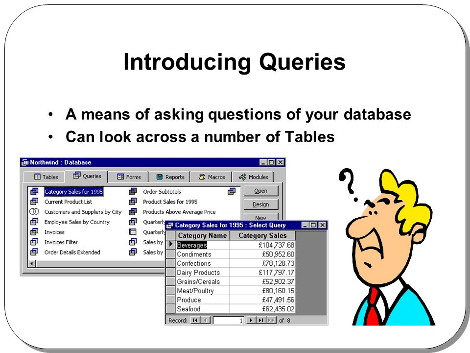 Introducing Queries A means of asking questions of your database Can look across a number of Tables