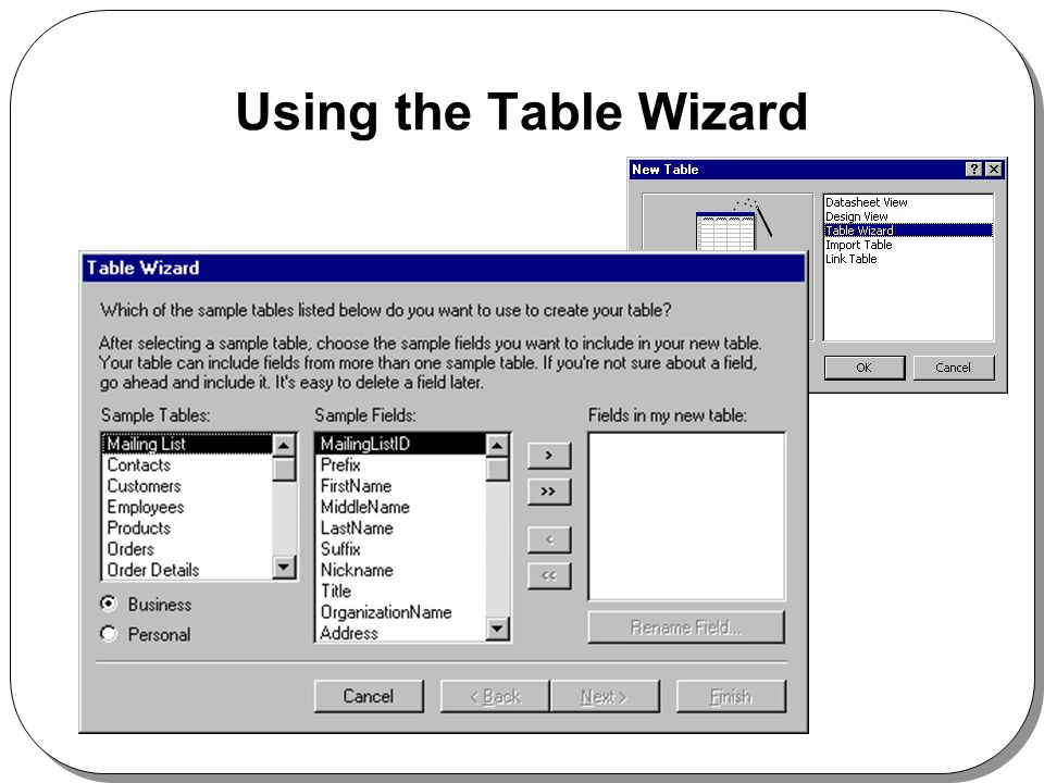 Using the Table Wizard