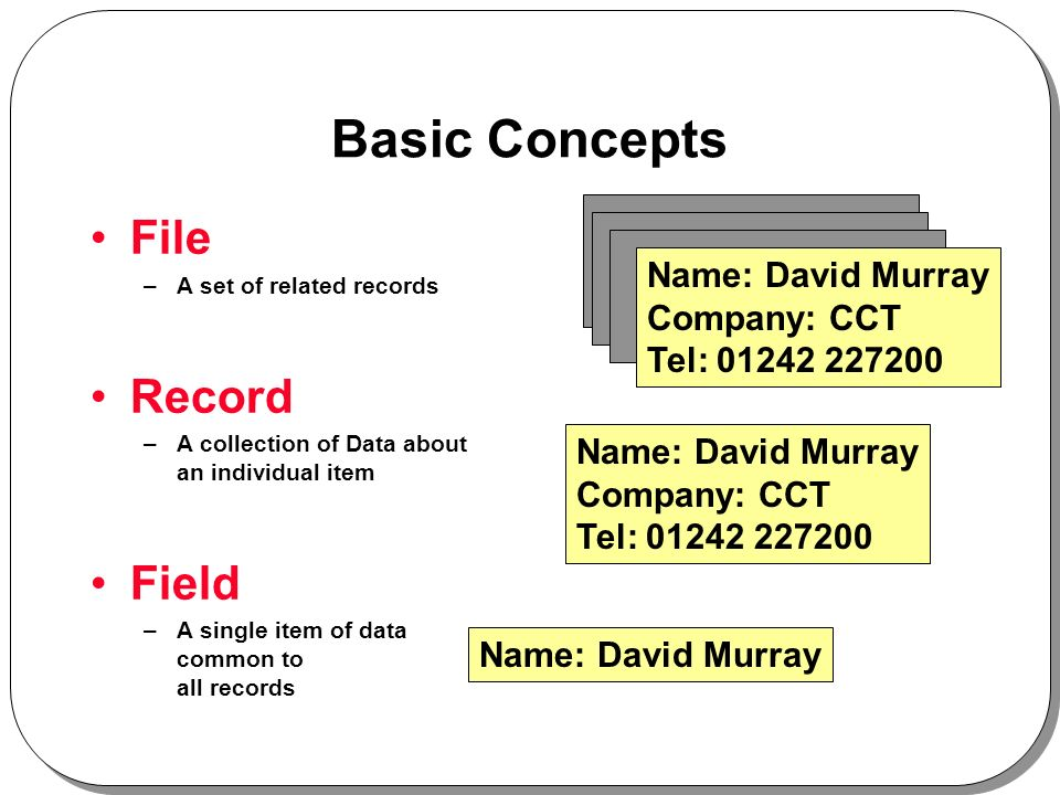 Basic Concepts File –A set of related records Record –A collection of Data about an individual item Field –A single item of data common to all records Name: David Murray Company: CCT Tel: Name: David Murray