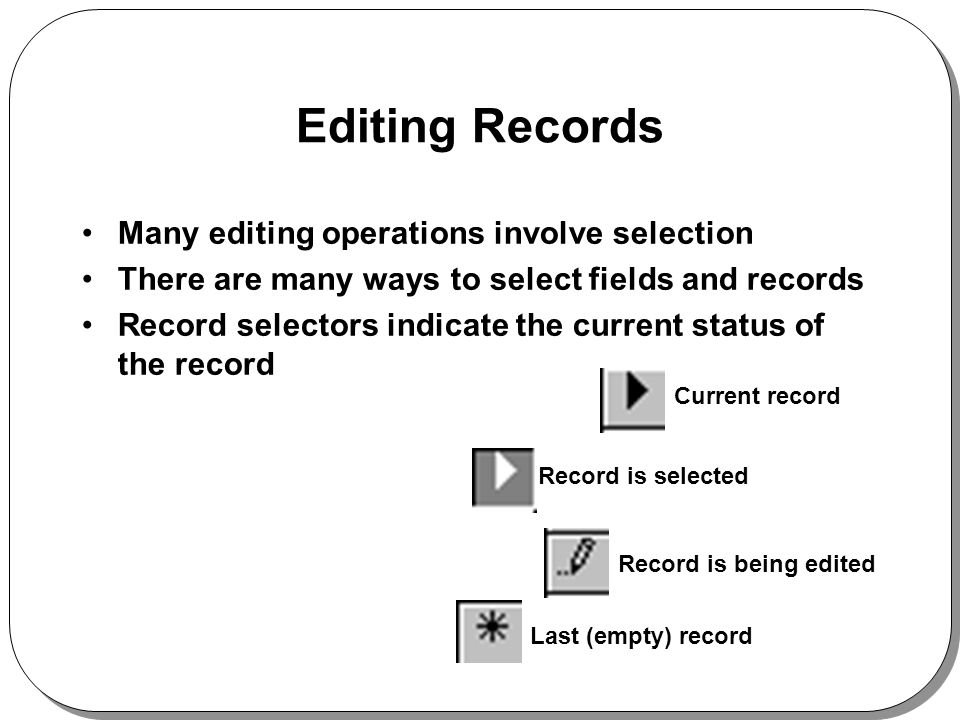 Editing Records Many editing operations involve selection There are many ways to select fields and records Record selectors indicate the current status of the record Current record Record is selected Record is being edited Last (empty) record