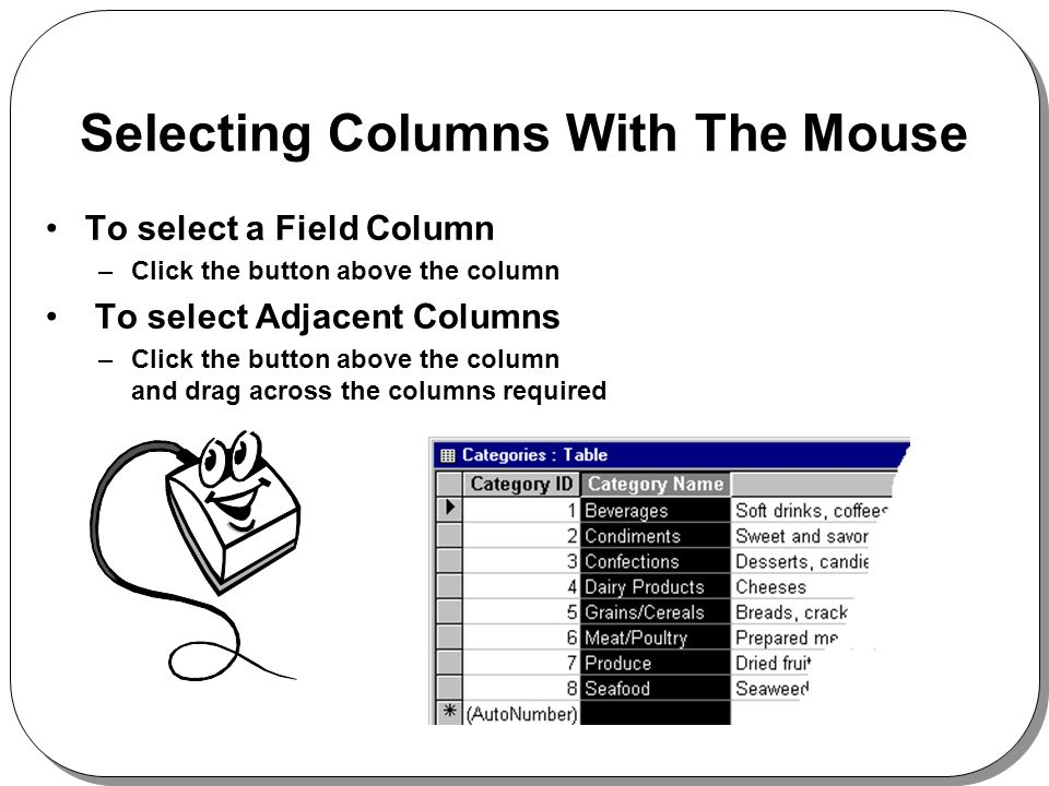 Selecting Columns With The Mouse To select a Field Column –Click the button above the column To select Adjacent Columns –Click the button above the column and drag across the columns required