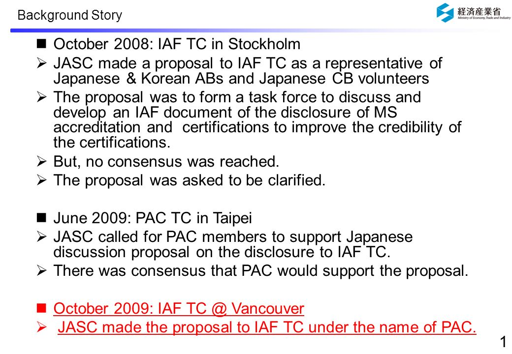 Report to PAC TC: The Result of the Discussion at IAF TC about the Disclosure of MS accreditation and certification Takashi Horie 16 June, 2010 JASC Ver.