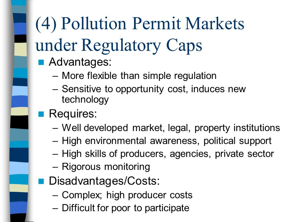 (4) Pollution Permit Markets under Regulatory Caps Advantages: –More flexible than simple regulation –Sensitive to opportunity cost, induces new technology Requires: –Well developed market, legal, property institutions –High environmental awareness, political support –High skills of producers, agencies, private sector –Rigorous monitoring Disadvantages/Costs: –Complex; high producer costs –Difficult for poor to participate