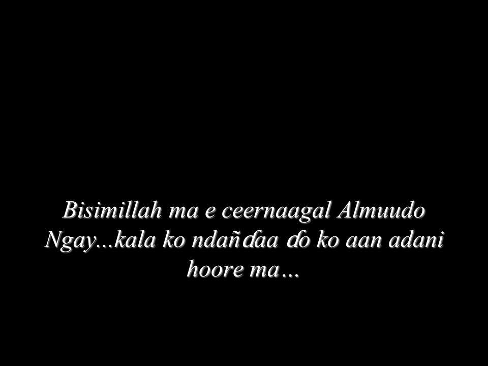 Bisimillah ma e ceernaagal Almuudo Ngay...kala ko ndañ ɗ aa ɗ o ko aan adani hoore ma…