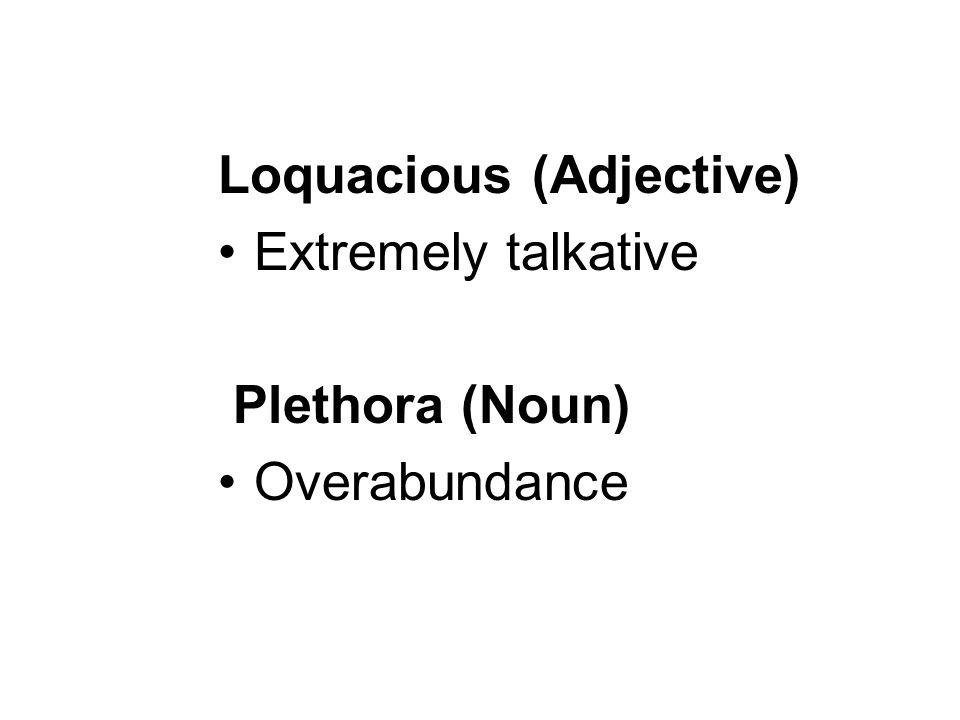 Loquacious (Adjective) Extremely talkative Plethora (Noun) Overabundance