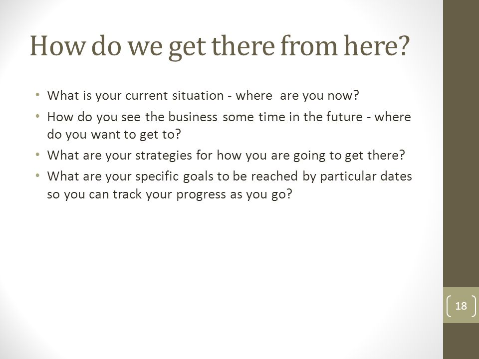 What is your current situation - where are you now? How do you see the business some time in the future - where do you want to get to? What are your s