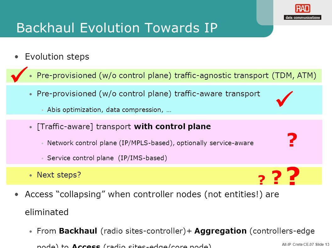 All-IP Crete CE.07 Slide 13 Backhaul Evolution Towards IP Evolution steps Pre-provisioned (w/o control plane) traffic-agnostic transport (TDM, ATM) Pr