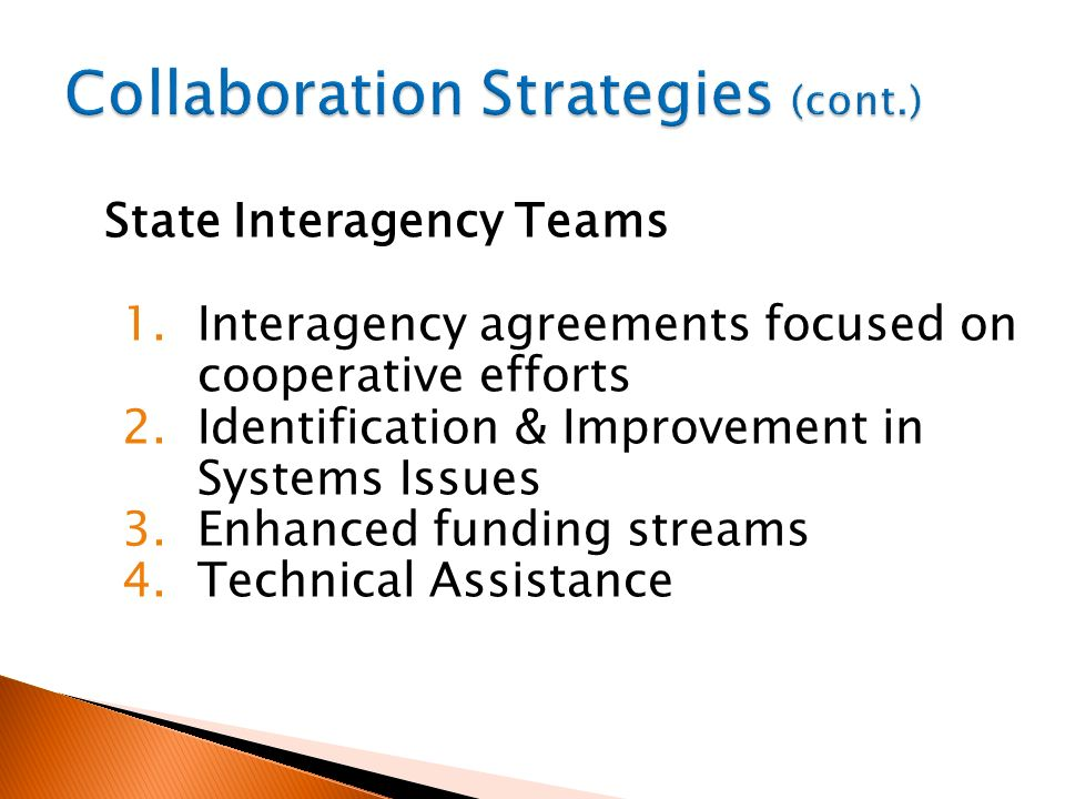 State Interagency Teams 1. Interagency agreements focused on cooperative efforts 2. Identification & Improvement in Systems Issues 3. Enhanced funding