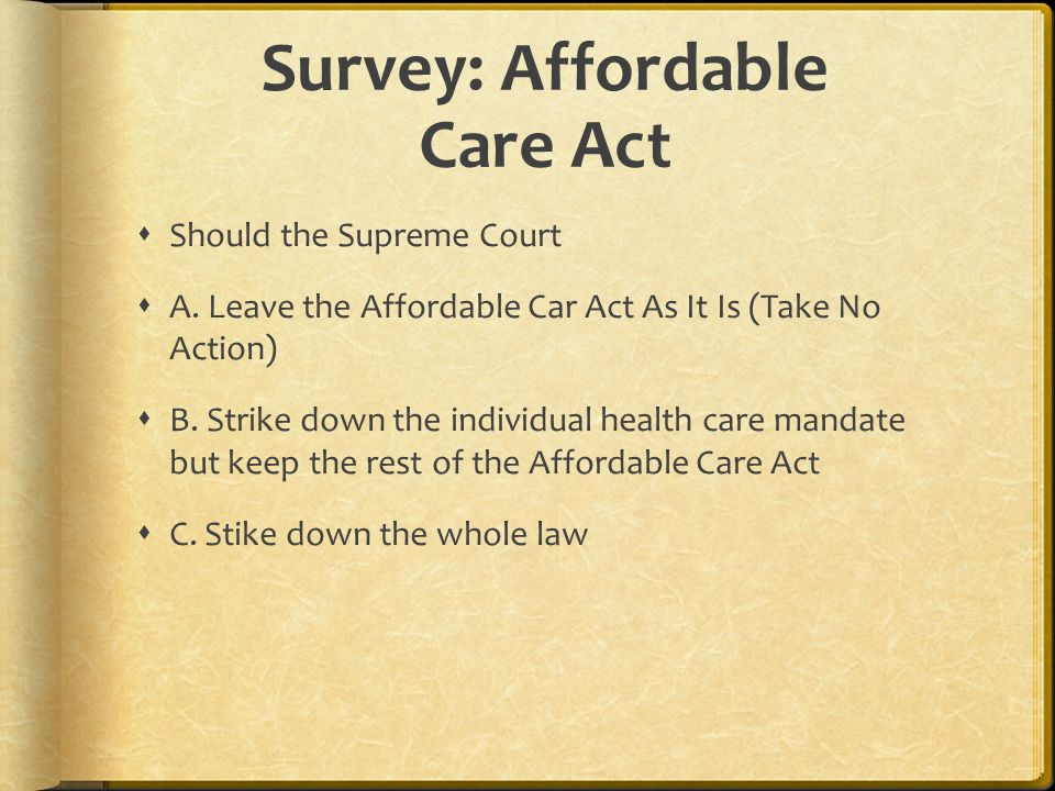 Survey: Affordable Care Act Should the Supreme Court A.