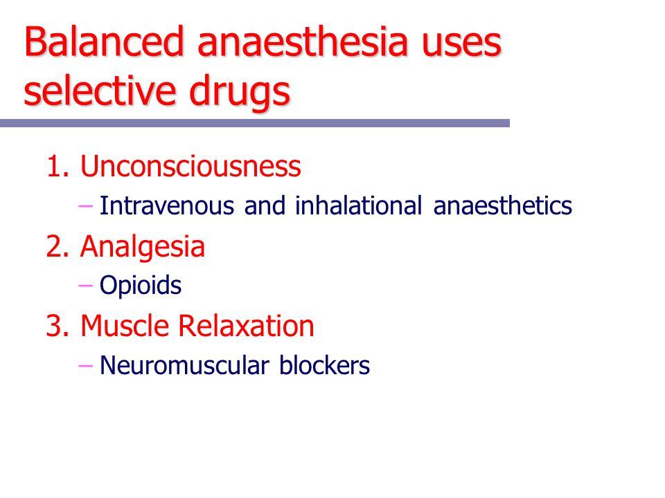 Balanced anaesthesia uses selective drugs 1.
