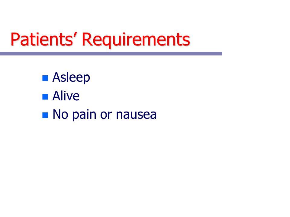 Patients Requirements n Asleep n Alive n No pain or nausea