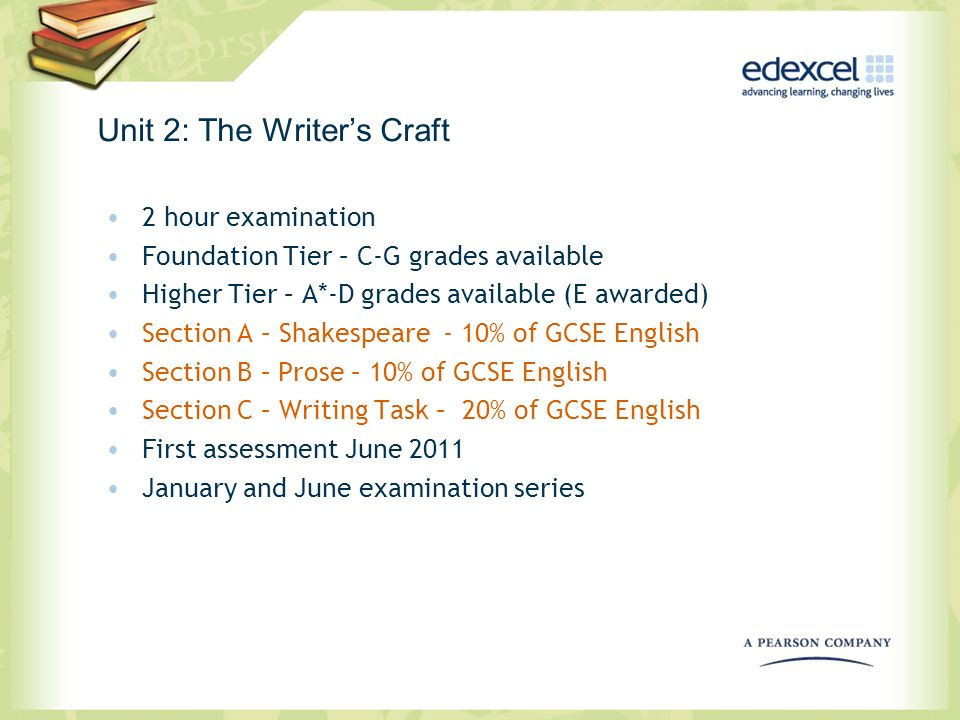Unit 2: The Writers Craft 2 hour examination Foundation Tier – C-G grades available Higher Tier – A*-D grades available (E awarded) Section A – Shakes