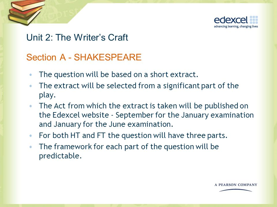 Unit 2: The Writers Craft Section A - SHAKESPEARE The question will be based on a short extract. The extract will be selected from a significant part