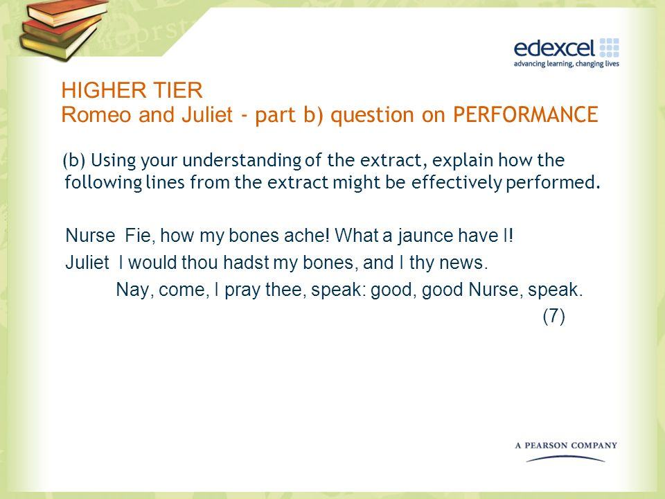 HIGHER TIER Romeo and Juliet - part b) question on PERFORMANCE (b) Using your understanding of the extract, explain how the following lines from the e