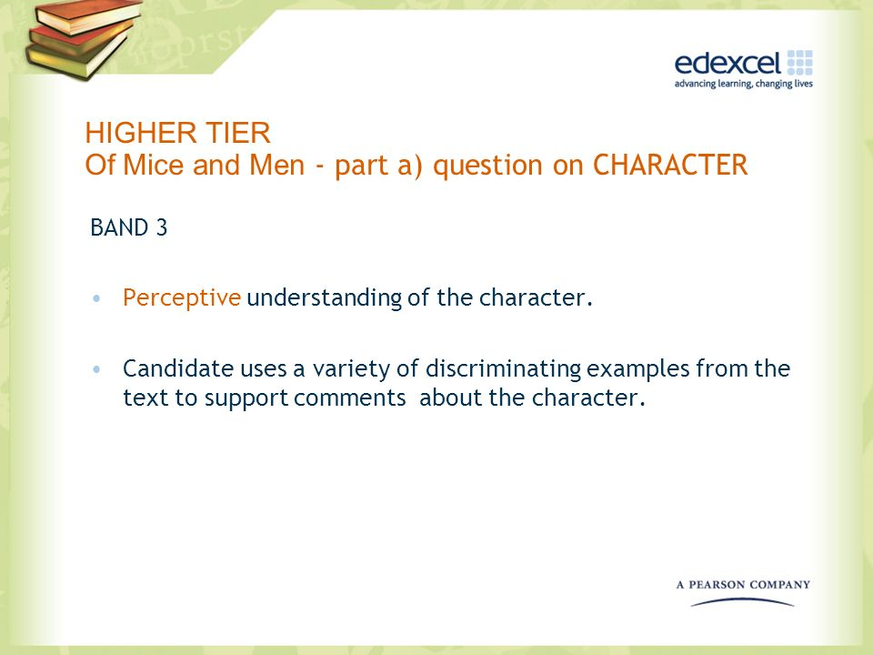 HIGHER TIER Of Mice and Men - part a) question on CHARACTER BAND 3 Perceptive understanding of the character. Candidate uses a variety of discriminati