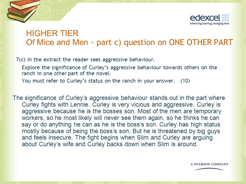 HIGHER TIER Of Mice and Men - part c) question on ONE OTHER PART 7(c) In the extract the reader sees aggressive behaviour. Explore the significance of