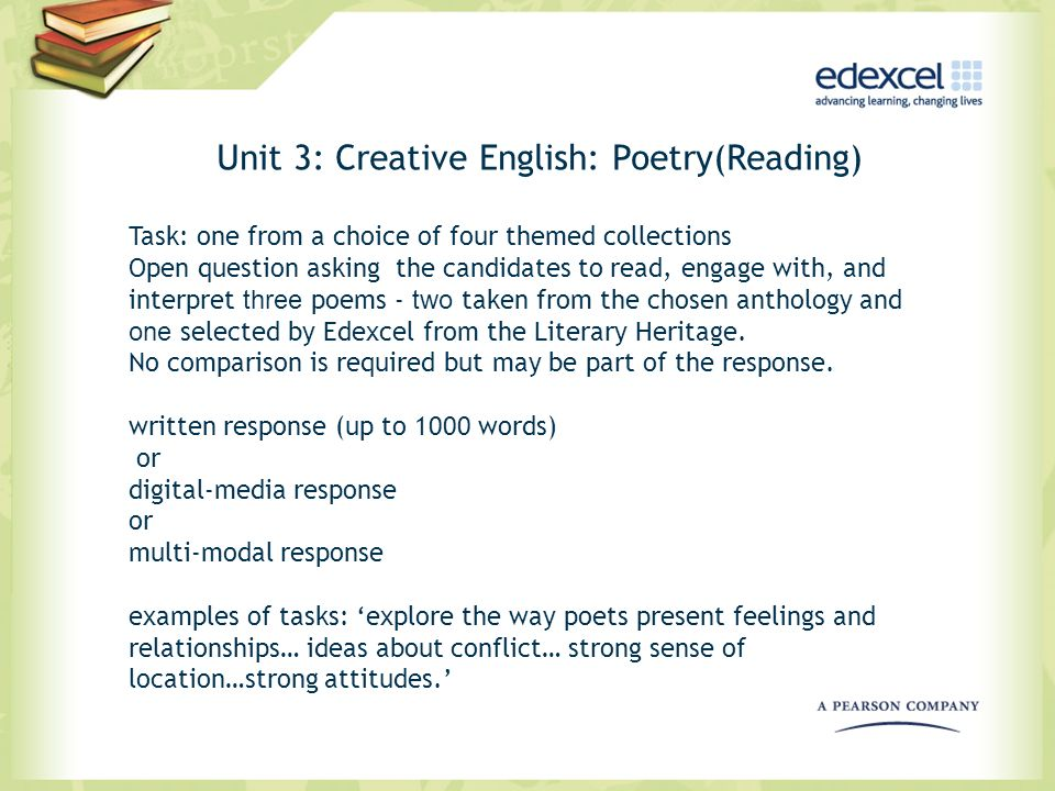 Unit 3: Creative English: Poetry(Reading) Task: one from a choice of four themed collections Open question asking the candidates to read, engage with,