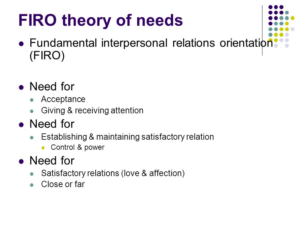 FIRO theory of needs Fundamental interpersonal relations orientation (FIRO) Need for Acceptance Giving & receiving attention Need for Establishing & maintaining satisfactory relation Control & power Need for Satisfactory relations (love & affection) Close or far
