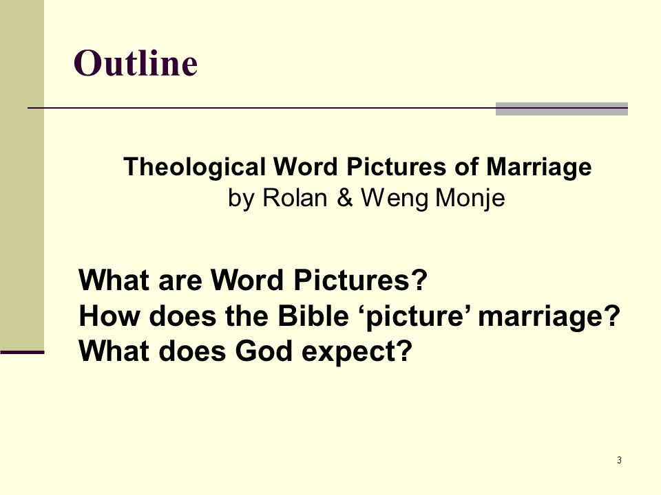 3 Outline Theological Word Pictures of Marriage by Rolan & Weng Monje What are Word Pictures.