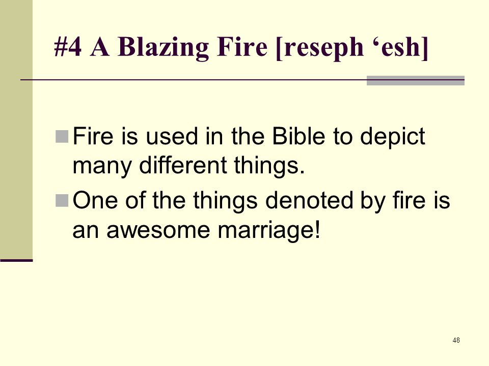 48 #4 A Blazing Fire [reseph esh] Fire is used in the Bible to depict many different things.
