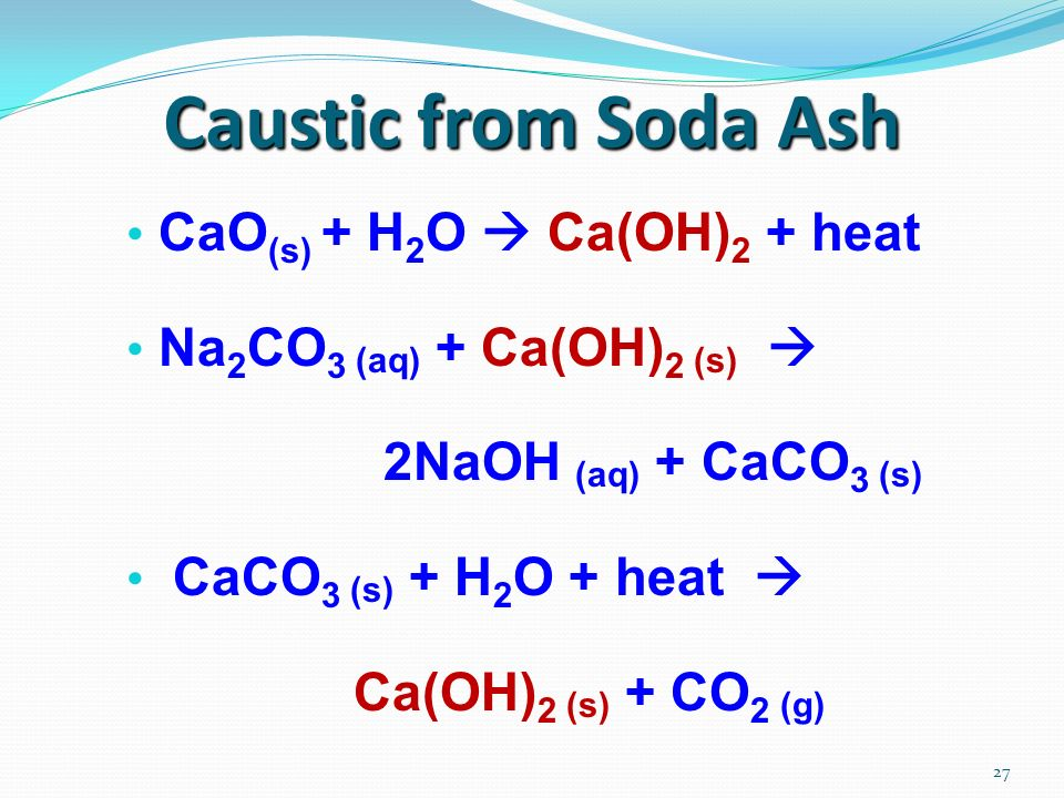 27 Caustic from Soda Ash CaO (s) + H 2 O Ca(OH) 2 + heat Na 2 CO 3 (aq) + Ca(OH) 2 (s) 2NaOH (aq) + CaCO 3 (s) CaCO 3 (s) + H 2 O + heat Ca(OH) 2 (s) + CO 2 (g)