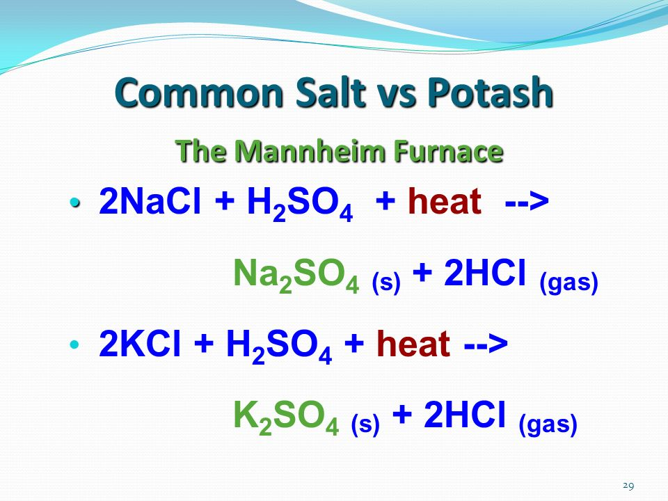 29 Common Salt vs Potash The Mannheim Furnace 2NaCl + H 2 SO 4 + heat --> Na 2 SO 4 (s) + 2HCl (gas) 2KCl + H 2 SO 4 + heat --> K 2 SO 4 (s) + 2HCl (g