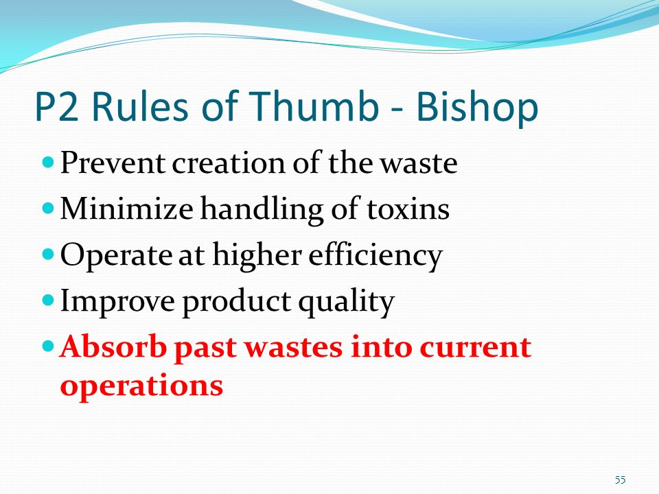 P2 Rules of Thumb - Bishop Prevent creation of the waste Minimize handling of toxins Operate at higher efficiency Improve product quality Absorb past wastes into current operations 55