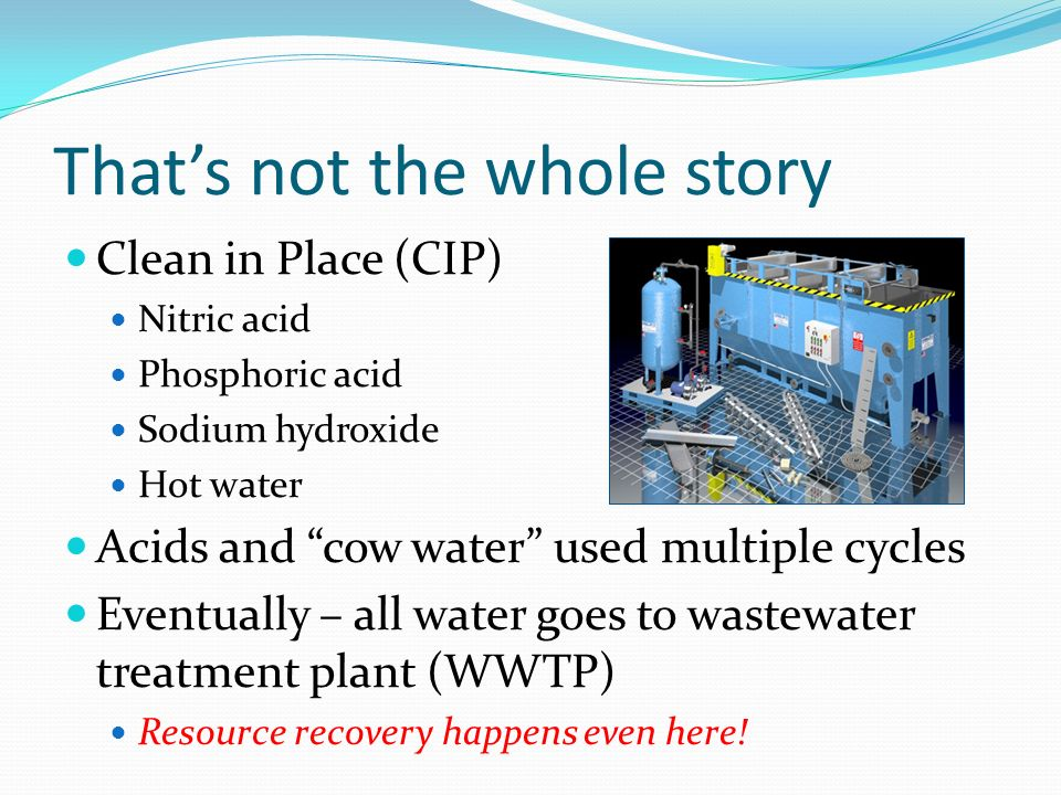 Thats not the whole story Clean in Place (CIP) Nitric acid Phosphoric acid Sodium hydroxide Hot water Acids and cow water used multiple cycles Eventually – all water goes to wastewater treatment plant (WWTP) Resource recovery happens even here!