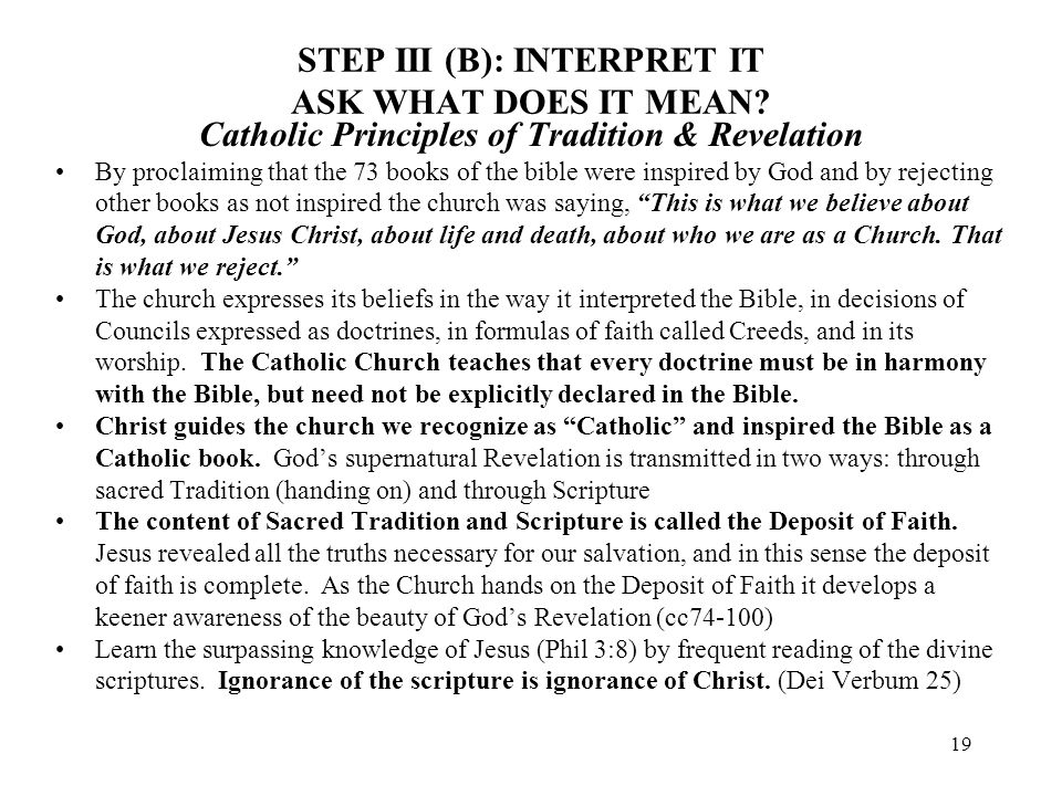 19 STEP III (B): INTERPRET IT ASK WHAT DOES IT MEAN? Catholic Principles of Tradition & Revelation By proclaiming that the 73 books of the bible were