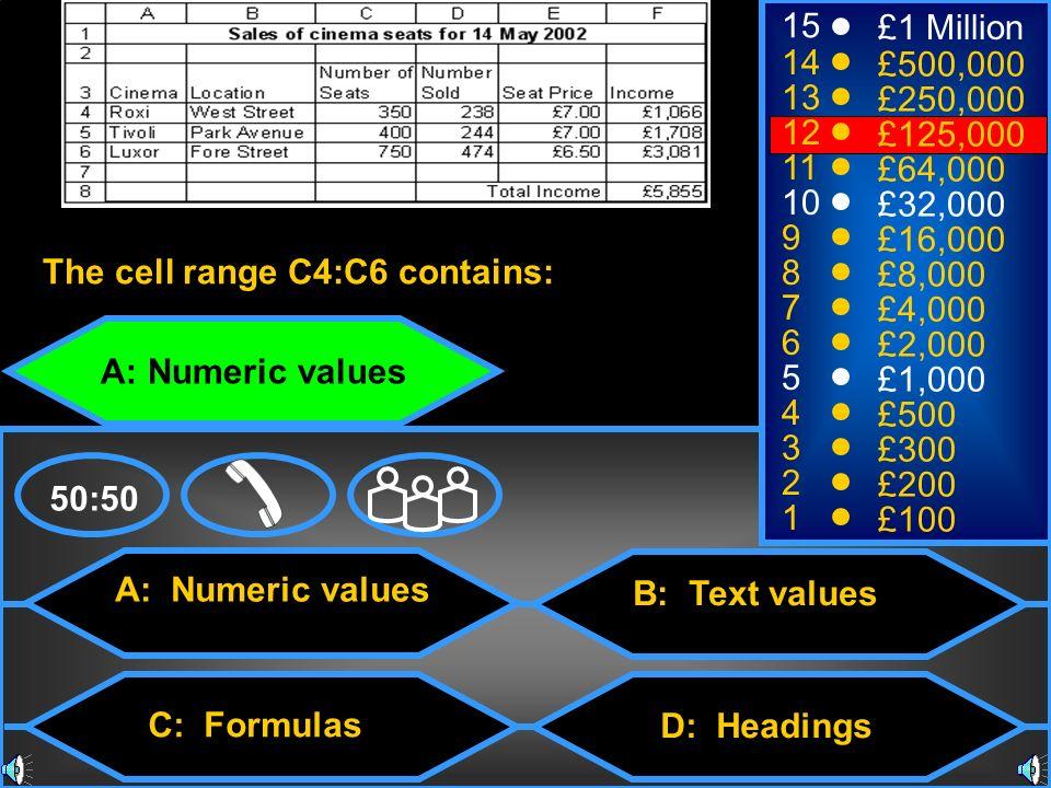 A: Numeric values C: Formulas B: Text values D: Headings 50:50 15 14 13 12 11 10 9 8 7 6 5 4 3 2 1 £1 Million £500,000 £250,000 £125,000 £64,000 £32,000 £16,000 £8,000 £4,000 £2,000 £1,000 £500 £300 £200 £100 The cell range C4:C6 contains: A: Numeric values