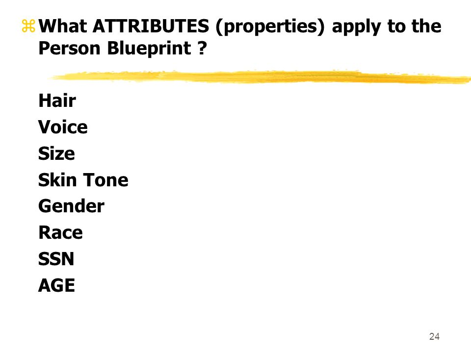24 zWhat ATTRIBUTES (properties) apply to the Person Blueprint .