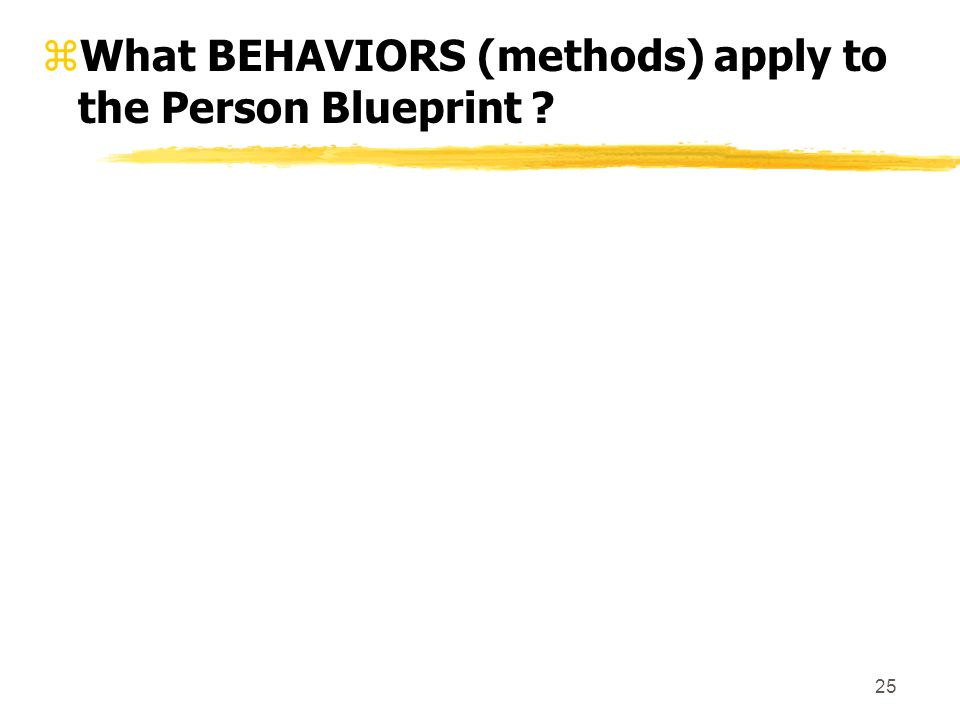 25 zWhat BEHAVIORS (methods) apply to the Person Blueprint