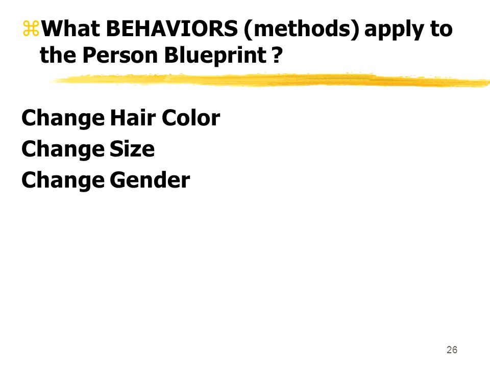 26 zWhat BEHAVIORS (methods) apply to the Person Blueprint .