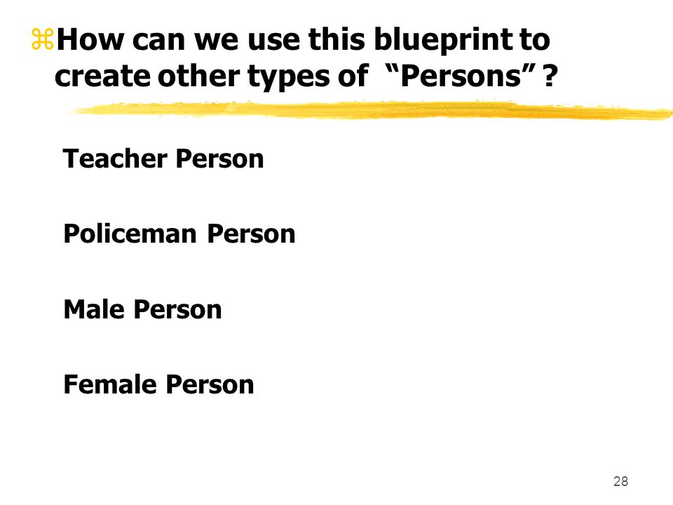 28 zHow can we use this blueprint to create other types of Persons .