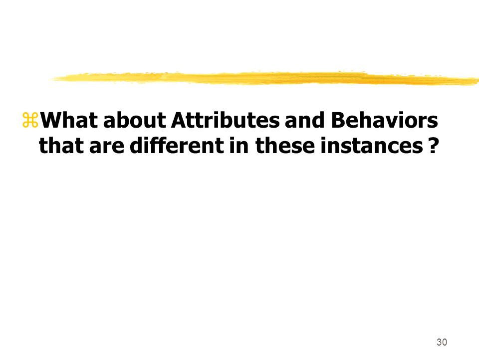 30 zWhat about Attributes and Behaviors that are different in these instances